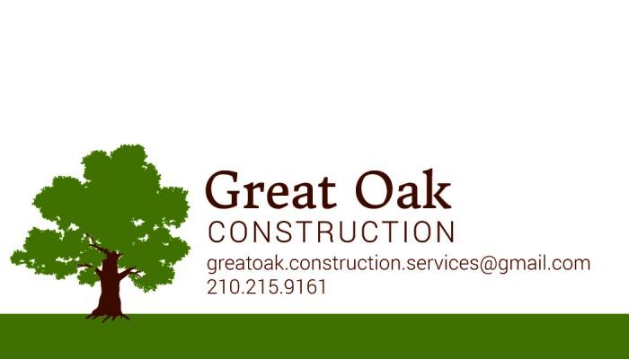 Ellice sanchez graphic designer great oak construction logo and great oak construction logo and business cards reheart Image collections